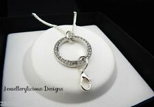 Silver Eternity Rhinestone Ring Clip on Pendant Charm Floating Locket Necklace