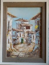 ANTIQUE EUROPEAN SCHOOL OIL ON CANVAS PAINTING THE CITY SCAPE SIGNED