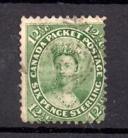 British Canada QV 12 1/2c yellow green 1859 fine used SG40 WS18107