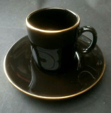 Vintage Hornsea  Coffee Can and Saucer Black with Gold Gilt Nescafe Espresso