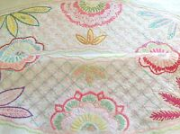 "Vintage Hand Embroidered Natural Linen "" FLOWER CIRCLE "" Tablecloth 40x42 Inches"