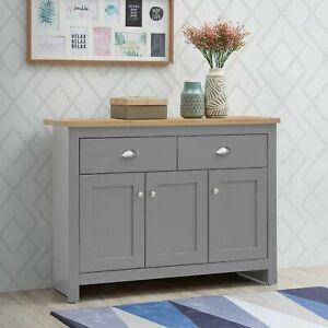 Lisbon Sideboard 3 Doors 2 Drawers Buffet Storage Cabinet Cupboard Grey Oak