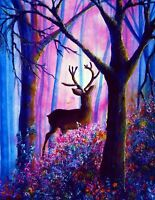 """Deer Forest Woods canvas wall art picture framed 20""""x30"""""""