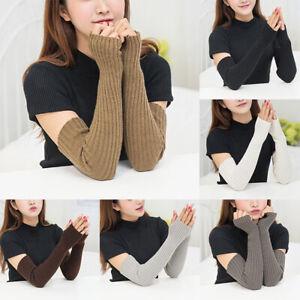 Women Wrist Arm Knitted Mitten Long Winter Hand Warmer Fingerless Ladies Gloves