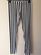 Womens Ladies Striped Black White Blue Leggings Stretch Italy Jeggings Skinny UK