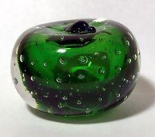 Art Glass Green Apple w/Blue Stem Paperweight Unidentified Maker