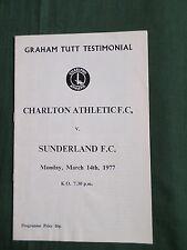 GRAHAM TUTT TESTIMONIAL - CHARLTON v SUNDERLAND 1977