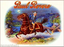 1904 Paul Revere Boston Smoke Vintage Cigar Tobacco Box Crate Inner Label Print