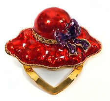 RED HAT ENAMEL GOLD TONE FOLD OVER CLIP  FOR RED HAT LADIES OF THE SOCIETY