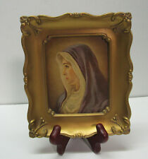 Mother Mary Virgin Mary Small Print in Gold Wood Frame Vintage
