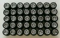 ♨️REAL RIDERS RUBBER TIRES 5 SPOKE CHROME 10MM 20 SETS 1/64 HOTWHEELS MATCHBOX