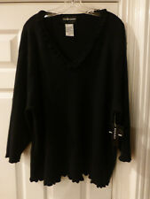 NWT SAG HARBOR V-NECK BLACK SWEATER 3X 100% COTTON KNIT 3/4 SLEEVE
