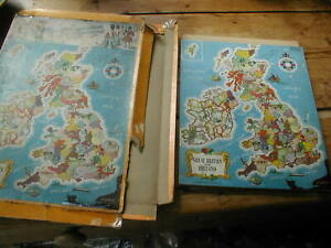 TWO vintage WOODEN JIGSAWS maps GB&NI and England/wales  BOTH COMPLETE Educatio