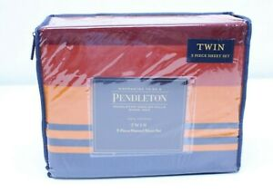 NEW Pendleton Twin Flannel Sheet Set 3 Piece Cotton Washable Grand Canyon Multi