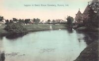 Hand Colored Postcard Lagoon in Beech Grove Cemetery in Muncie, Indiana~124940