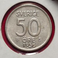 1956 Sweden 50 Ore Silver Foreign Coin - Lot #420