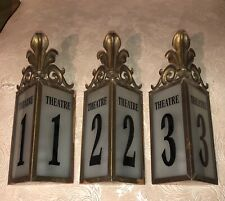Antique Lighted Theater 2 Sign Architectural Brass Circa 1930's Chicago Original