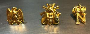 Assortiment de 3 pin's couleur or Collection Napoléon N impérial abeille aigle