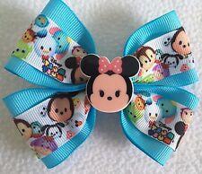 "Girls Hair Bow 4"" Wide Tsum Tsum Aqua Blue Minnie Mouse Flatback French Barrette"