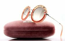 NEW Genuine MIU MIU Pink Suede Grey Round Crystal Sunglasses MU 08RS TV1-4K0 08R