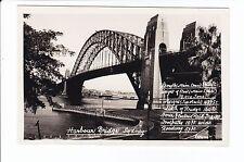SYDNEY HARBOUR BRIDGE + dimensions from Nth shore VINTAGE RPPC  Australia