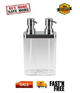 Dual Pump Soap & Lotion Dispenser in Clear Gold, Clear, 0.79 lb, 23955-CLEAR