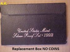 Replacement Box 1992 Black Silver Proof 1-Lens/Plastic Set Box & Coa NO COINS