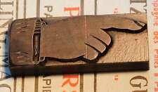 POINTING HAND - FINGER letterpress wooden printing block very rare wood printer