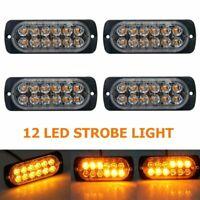 4x 12 LED Car vehicle Strobe Flash Light Emergency Warning Flashing Lamp Amber