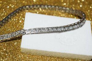 9ct White Gold Square Cubic Zirconia Tennis Bracelet