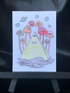 ACEO Original All Seen Eyes Medium Black Ink Marker & Prismacolor on Paper Signd