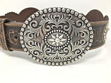 Justin Brown Leather Concho Belt Amarillo Star C20948 30 NWT Silver Star Buckle