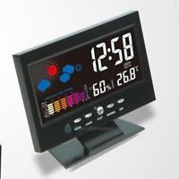 Colorful LCD Digital Thermometer Humidity Hygrometer Alarm Clock Voice Control