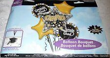 Anagram CONGRATS GRAD - 5 Balloon Bouquet - Over 6 Ft. Tall - STAR SHAPE