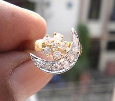 Estate 0.48ct Diamond 14k Yellow Gold Two Tone Spinning Moon Wedding Ring