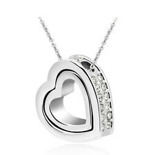 NEW Fashion Double Heart Clear Crystal Charm Pendant Chain Necklace Silver CD19