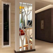 Mirror Tile Wall Sticker Removable Self Adhesive Bathroom Decor Stick On Arts