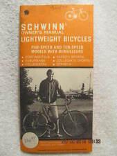 1974 Schwinn Owner's Manual Lightweight Bicycles 5- & 10-Speed With Derailleurs
