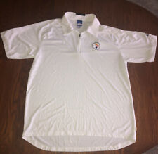 Mens NFL Team Apparel Pittsburgh Steelers Reebok White Polo Shirt Size Large