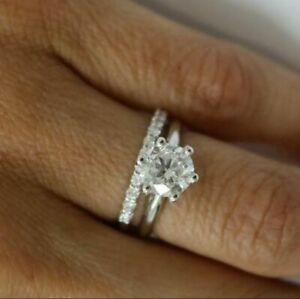 DIAMOND RING D 3.25 CARAT BAND SET SI1 ROUND SOLITAIRE CERTIFIED 18K WHITE GOLD