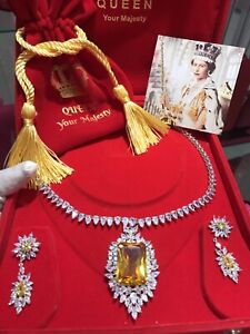 QUEEN INSPIRED CANARY YELLOW DIAMOND NECKLACE COLLAR JEWELRY SET WITH EARRINGS