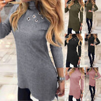 UK 8-20 Women High Waist Knitted Long Top Casual Ribbed Jumper Ladies Mini Dress