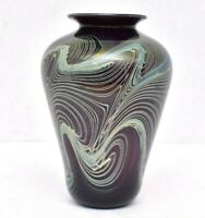 "Vintage Pulled Feather Iridescent LUSTER Studio Art glass Vase SIGNED LARGE 7"""