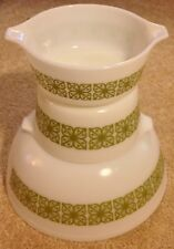 Vintage Pyrex White w/ Verde Green Square Large Mixing Bowl & Casserole Dishes
