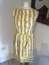 VINTAGE 50'S YELLOW FLORAL STRIPE COTTON SHIFT DRESS UK 8 SMALL