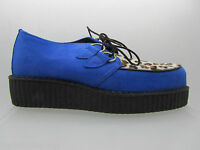New Rare Retro Hand Made Uk Shoes Blue Suede Lepoard Creepers Rock Punk