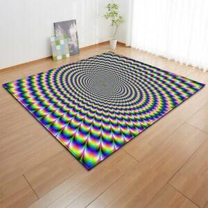 Modern Optical Illusion Rectangular Rug/Carpet. Non-slip
