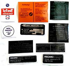 BMW E12, E21, E23, E24, E28, E30 RESTORATION STICKERS, DECALS WITH RECARO DECALS