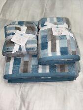 Mind On Design Eight 8 Piece White Gray Blue  Bathroom Towel Set 100% Cotton NWT