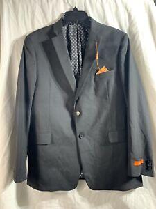 New Tallia Mens Blazer Black Size 38 Slim Fit Solid Suit Separate Jacket